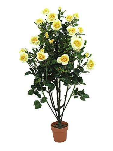 12 x Rose mit Blattwerk creme//gelb Kunstblumen Seidenblumen
